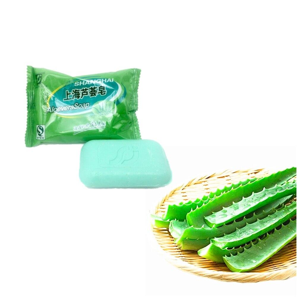 Pure Natural Plant Aloe Vera Essence Oil Soap 85g Anti-Acne Whitening Face Soap Moisturizing Nourishing Deep Cleansing