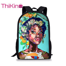 Thikin African Black Girl Art Women Students School Bag for Teenager Backpack Travel Package Shopping Shoulder Mochila