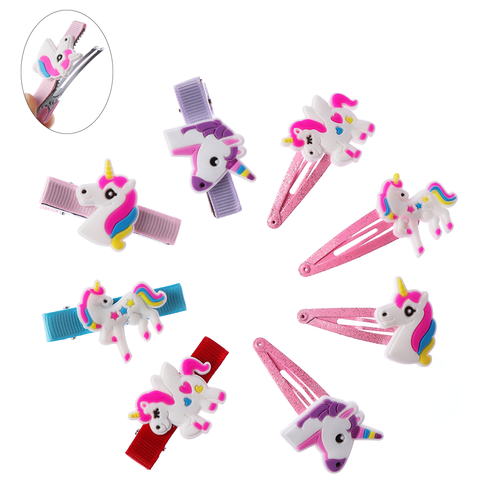 2/5pcs Lovely Kids Girls Unicorn Barrettes Christmas Gifts Cartoon Animal Hairpins Children Hair Ornaments Hair Accessories