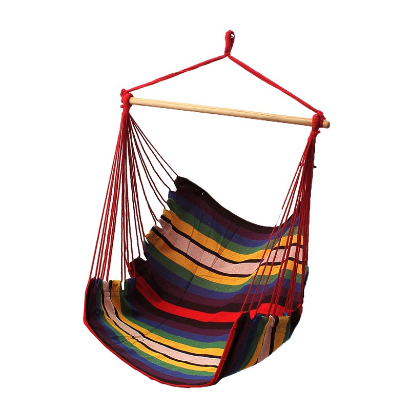 SGODDE Garden Patio Porch Hanging Cotton Rope Swing Chair Seat Hammock Swinging Wood Outdoor Indoor Swing Seat Chair Hot Sale