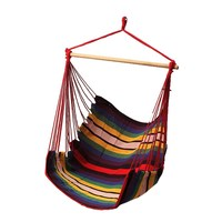SGODDE Garden Patio Porch Hanging Cotton Rope Swing Chair Seat Hammock Swinging Wood Outdoor Indoor Swing