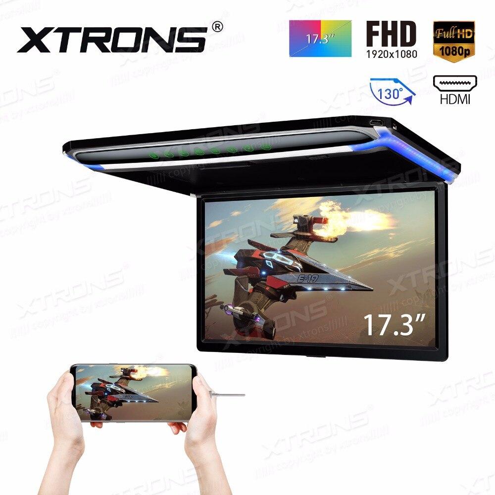 XTRONS-Monitor Digital de 17,3 pulgadas para techo de coche, reproductor de vídeo HD con pantalla ancha TFT, Ultra delgado, HDMI, IR, FM, USB, SD, SIN DVD, 1080P