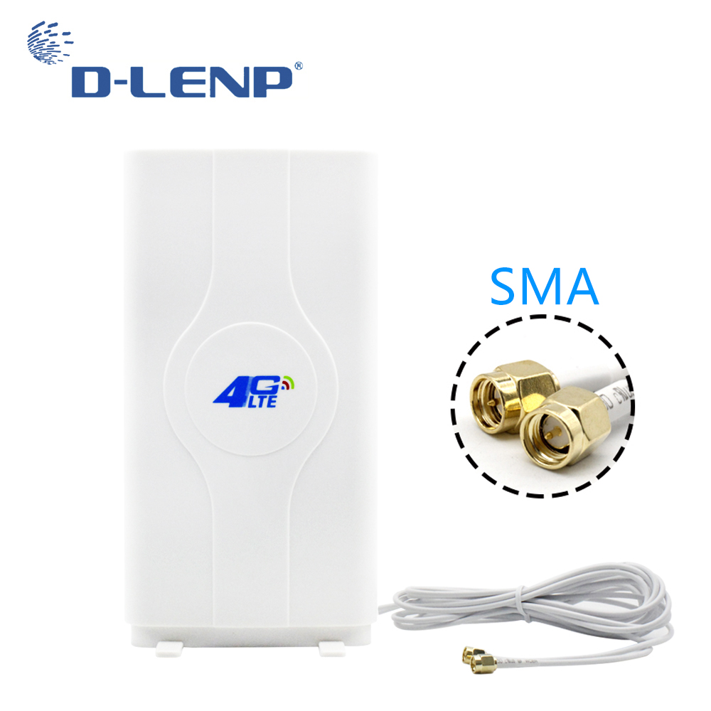 Dlenp 88dBi 4G LTE MIMO Antenne 2-SMA RSJ 700-2600 Mhz Mit Sma-stecker Booster Panel Antennen mit 2 Meter Kabel