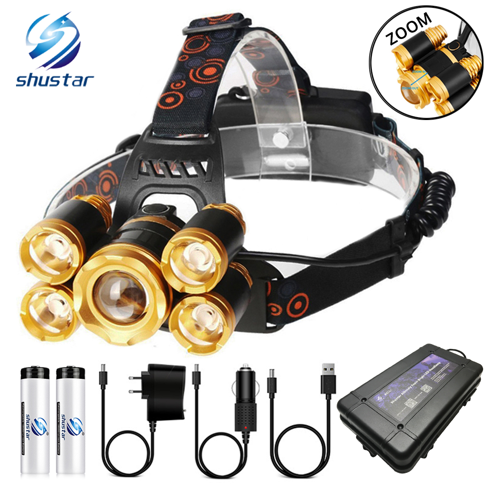 Super Bright LED Headlamp 5 X T6 LED Lamp Bead Waterproof LED Headlight Zoomable Fishing Lamp Camping Lamp Use 18650 Battery