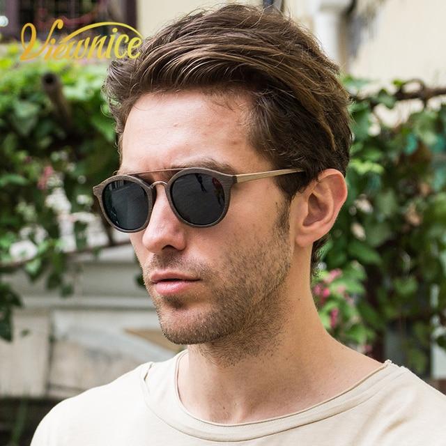 e9ffa955ba8 Viewnice 2018 Vintage rétro bois lunettes De soleil homme acétate Oculos De  Sol Feminino De Marca