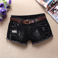 Women Holes Rivet Denim Shorts Dark Solid Shorts Black Jean Hip hop Low waist Shorts Without Belt