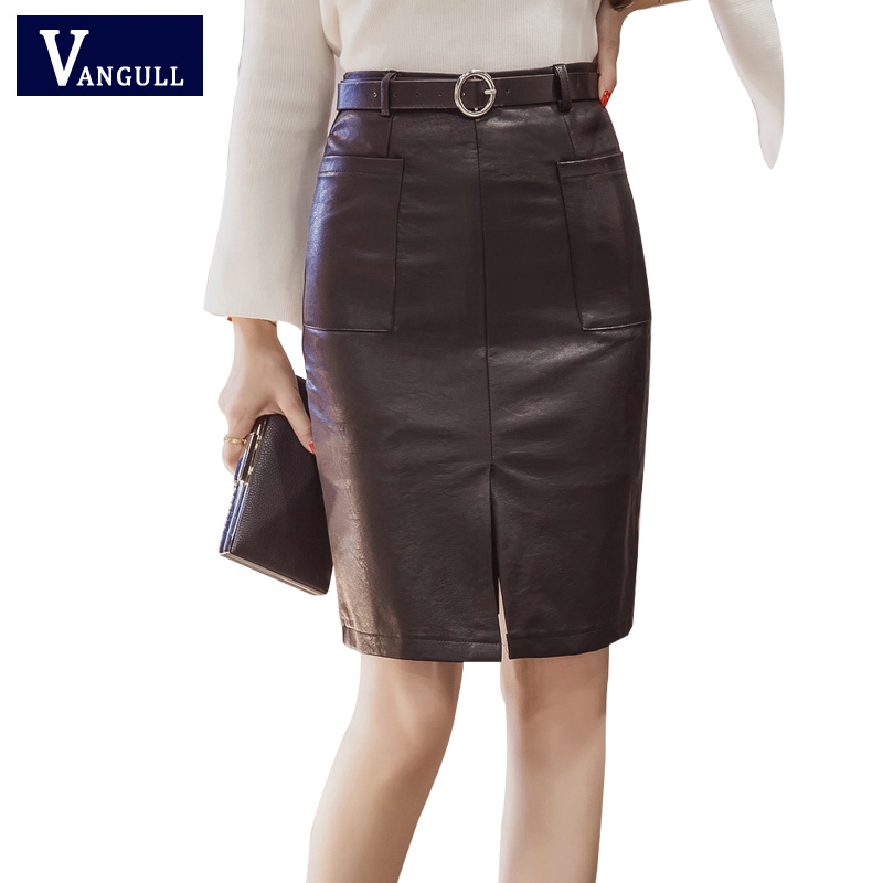 Woman Leather Skirt 2017 Hot sale Package Hip Solid Color Front Split PU Leather Skirts Business Attire Lady Knee-length Skirt