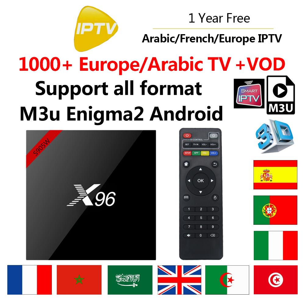 X96W 1 Year Europe IPTV Box Amlogic S905W Quad Core Smart Android 7.1 TV Box with 1000 French UK Arabic Portugal Channels X96