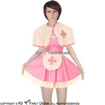 Pink With White Sexy Latex Nurse Dress With Cape And Apron Rubber Dress Uniform Playsuit Bodycon Lyq 0033