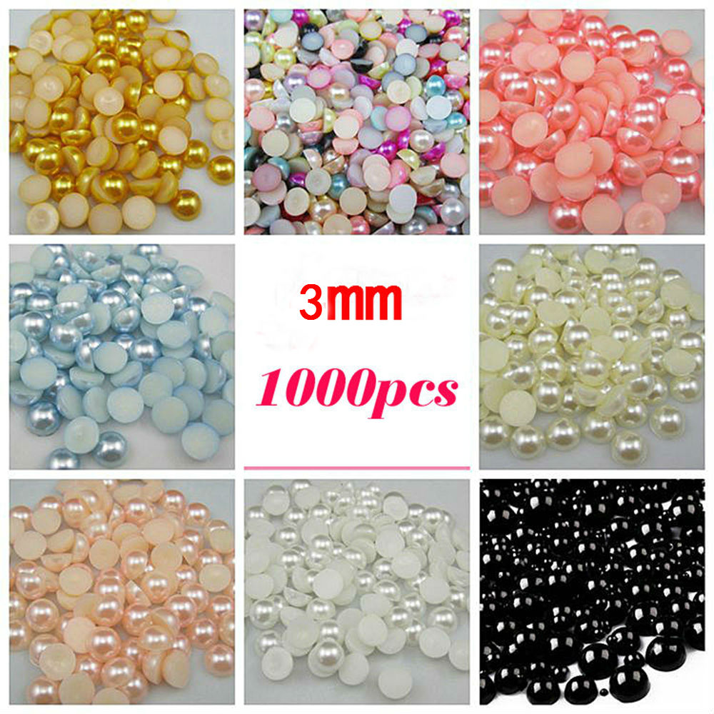 1000 Mixed Size 3mm to 8mm Craft ABS Resin Flatback Half round imitation pearls
