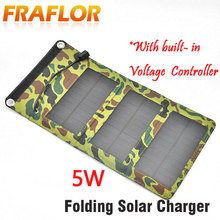 5W Camping Travel Portable Solar Charger Solar Panel Cellphone Mobile Solar Panel Charging Kits With Built in Voltage Controller
