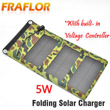 5W Camping Travel Portable Solar Charger Solar Panel Cellphone Mobile Solar Panel Charging Kits With Built-in Voltage Controller(China)