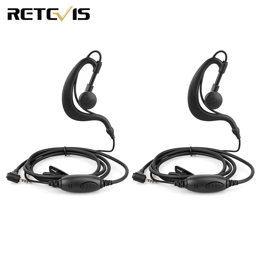 2pcs EE090Z 1-Pin 2.5mm PTT Speaker MIC Ear-hook Earphone For RETEVIS RT20 Mini Walkie Talkie Business Radio