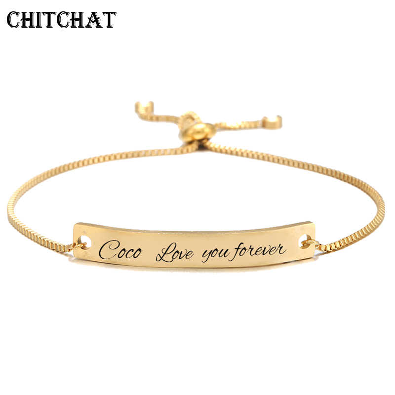 Custom Bar Bracelet Engraved Name Date Letter Charm Bracelets Stainless Steel Bangles Personalized Custom Woman Jewelry