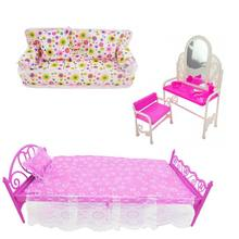 3pcs/set Scale 1: 12 Miniature Dollhouse Accessories Dressing Table Sofa Bed Furniture for Bedroom Living Room Decor(China)