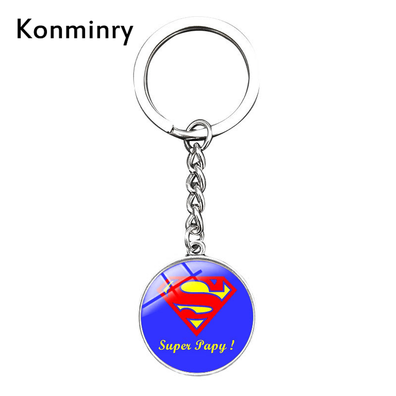 Trendy Super Papy Grandpa Long Key Chains Art French Design Pattern Glass Dome Pendant Keychains Holder Jewelry Konminry my grandpa