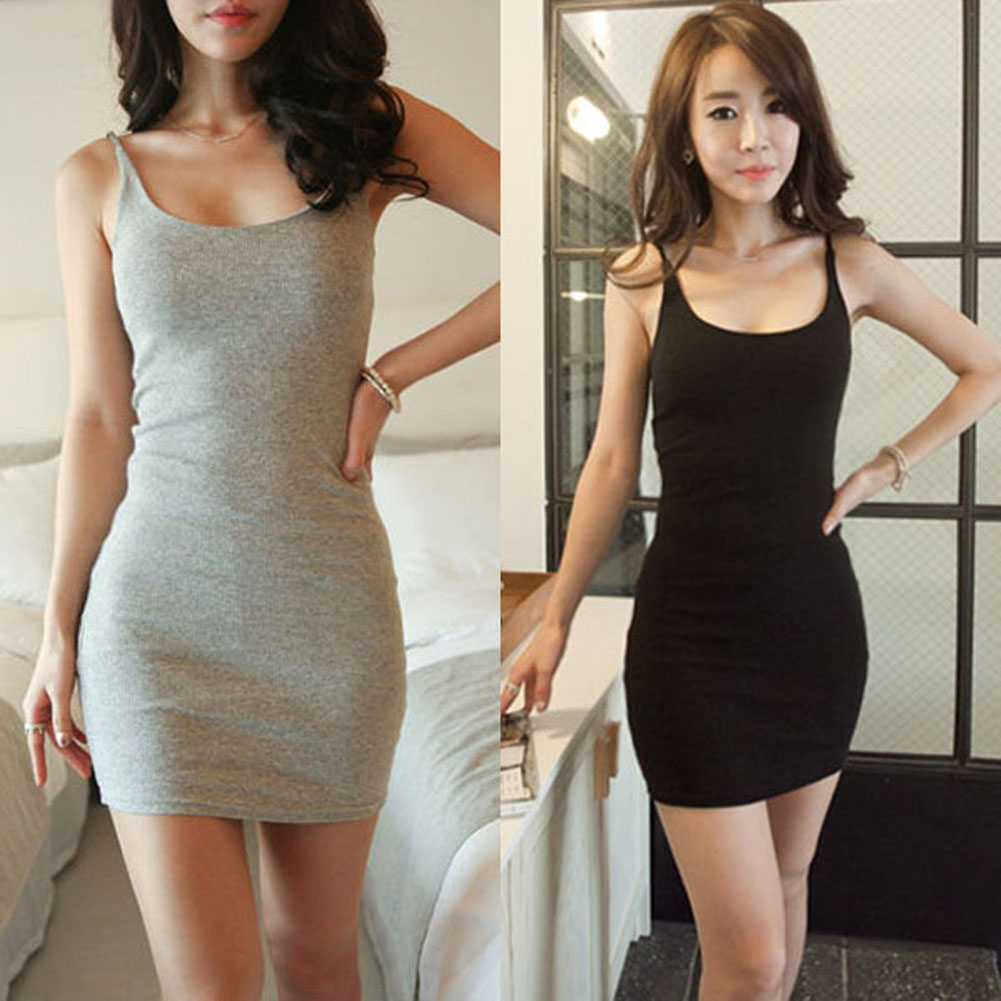 2017 Sommar Style Slim Women Sexig Solid Lady Bodycon Skinny Bottoming Dress Bomull Spaghetti Strap Base Mini Kjolar