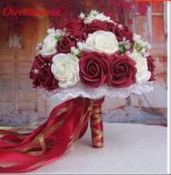 30 Rose Bouquets De Casamento 2018 Artesanal De Noiva Acessórios De Casamento Presentes Do Partido Da Flor Do Casamento Flores Peras frisado com Fita