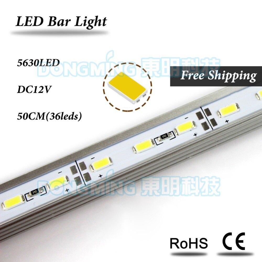 U/V Aluminum Profile DC 12V LED Bar Light 50cm 36leds led luces strip 5630 for kitchen closet cabinet jewelry showcase