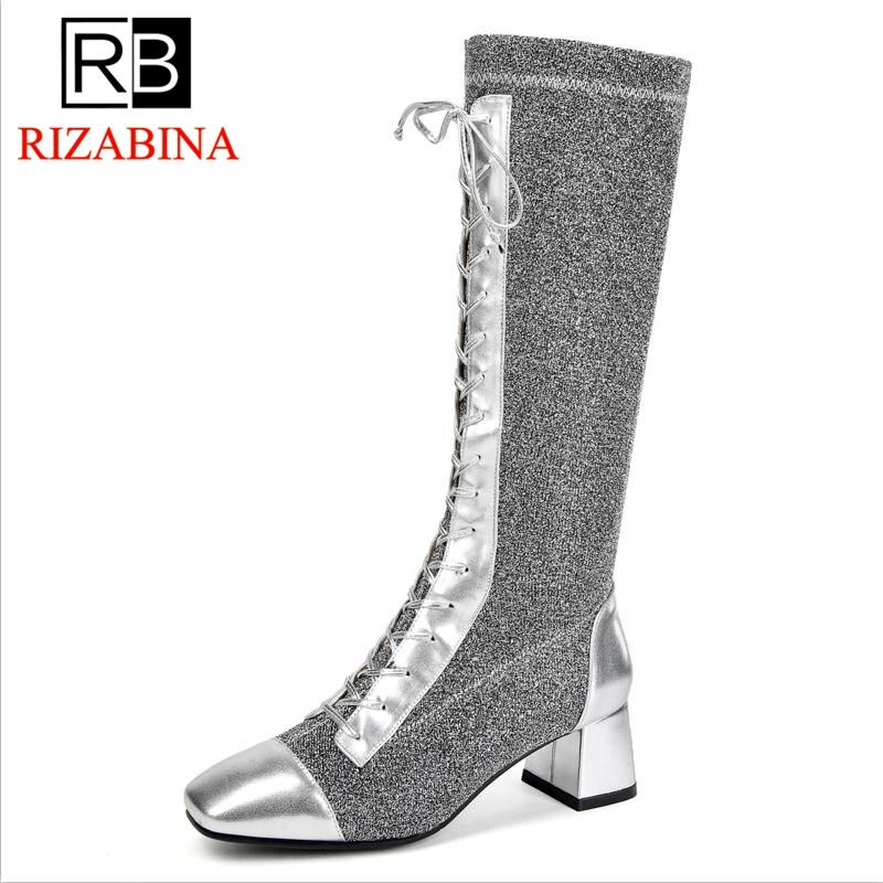 RizaBina Femmes Bottes À Talons Hauts En Cuir Véritable Chaussures Femme Mi-mollet Bottes Femmes Rétro Punk Femme Chaussures D'hiver Chaussures Taille 34-39