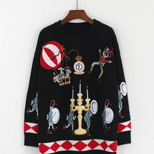 Winter Runway Sweater Women Luxury Brand Design Elegant Circus Soldiers Balloons Candles Embroidered Loose Warm Knitted Tops New