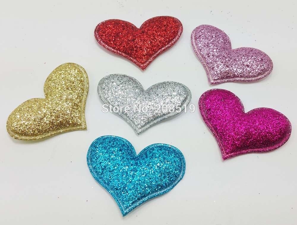 ᗑPA0055 acolchado corazón sentía 30mm * 40mm 6 colores 120 piezas ...
