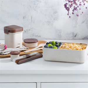 ONEUP Wheat straw Lunch Box Set with Thermal Bag Tableware BPA Free Bento Box Microwavable Food Container School Office Picnic