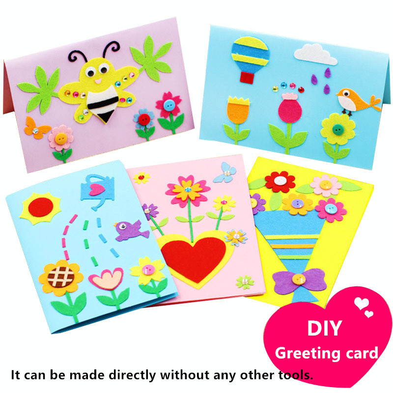 5pcs Diy Non-woven Greeting Card Kits Envelope Preschool Educational Handmade Toys Thanksgiving Mother's Day Birthday Gift Bless
