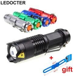 Mini Bolso CREE Q5 2000LM 3 modos de alumínio Tactical Lanterna Led Com Zoom À Prova D' Água Levou Luz Da Tocha Clipe para Cinto USO AA /14500