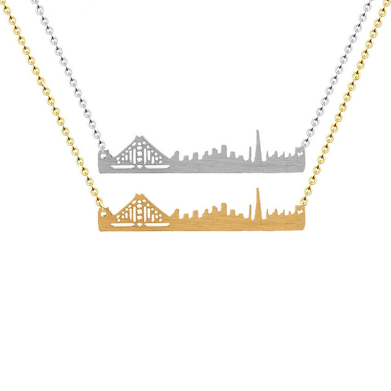 Vintage Cityscape San Francisco Pendant Necklace for Women Skyline America City Sports Baseball Gold Silver Chain Jewelry image