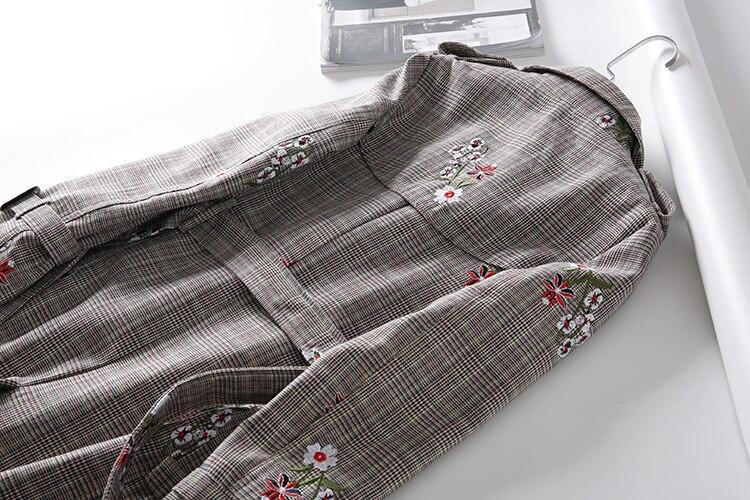 Fleur Kaki Kobykoyi Vintage Manteau Casual Tranch Automne Pour Femmes Abrigos Mujer Feminino Broderie Plaid Tops Casaco TZTf1qwt