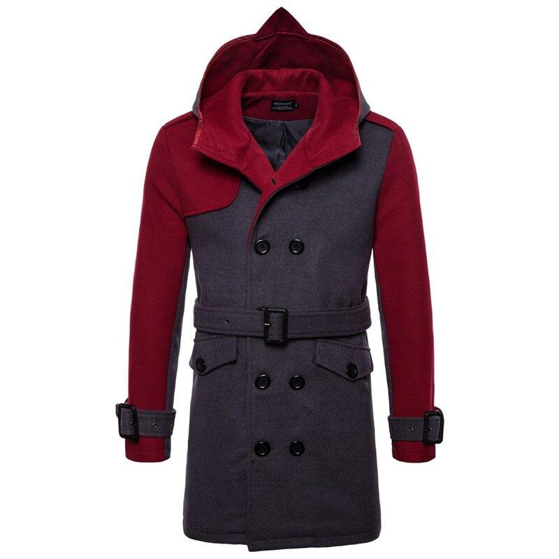 wool coat men wine-grey