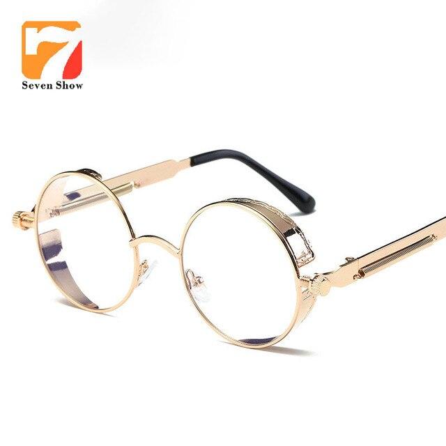 557fbd871733d Nova Steampunk rodada limpar lens armação de oculos feminino Metal Original  do vintage armação oculos armação