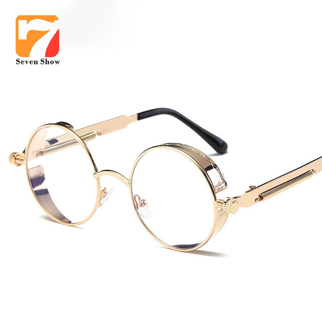 dae6b576bb9 Steampunk Goggles Round Eyeglasses Clear Lens Gold Glasses Frames Men  Unique Vintage Circle Glasses Frame Male