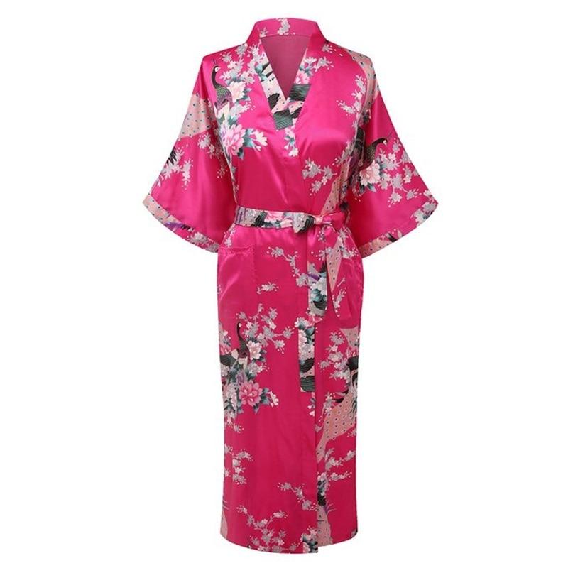 New Arrival Hot Pink Women Rayon Kimono Yukata Gown Bridesmaid Wedding Robe Nightgown Sleepwear Flower S M L XL XXL XXXL ZS012