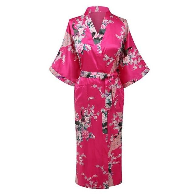 New Arrival Hot Pink Women Rayon Kimono Yukata Gown Bridesmaid Wedding Robe  Nightgown Sleepwear Flower S M L XL XXL XXXL ZS012 b3b21bf0f