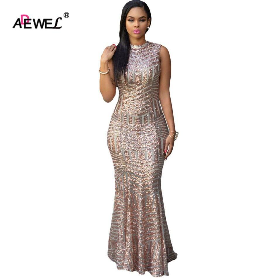 ADEWEL élégant Sequin évider femmes Sexy robes de soirée tenue de club longue moulante robe d'été col rond argent robe Maxi