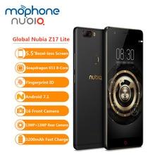 Küresel Nubia Z17 Lite 6 GB 64 GB Cep Telefonu 5.5 Inç Çerçeve-az Parmak Izi 16MP 13MP + 13MP çift Arka Kamera 4G LTE akıllı tel...