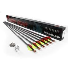 6/12/24pcs Spine 300/350/400 Pure Carbon Arrow 32 Inch Diameter 6.2mm Replaceable Arrowhead for Achery Recurve Bow