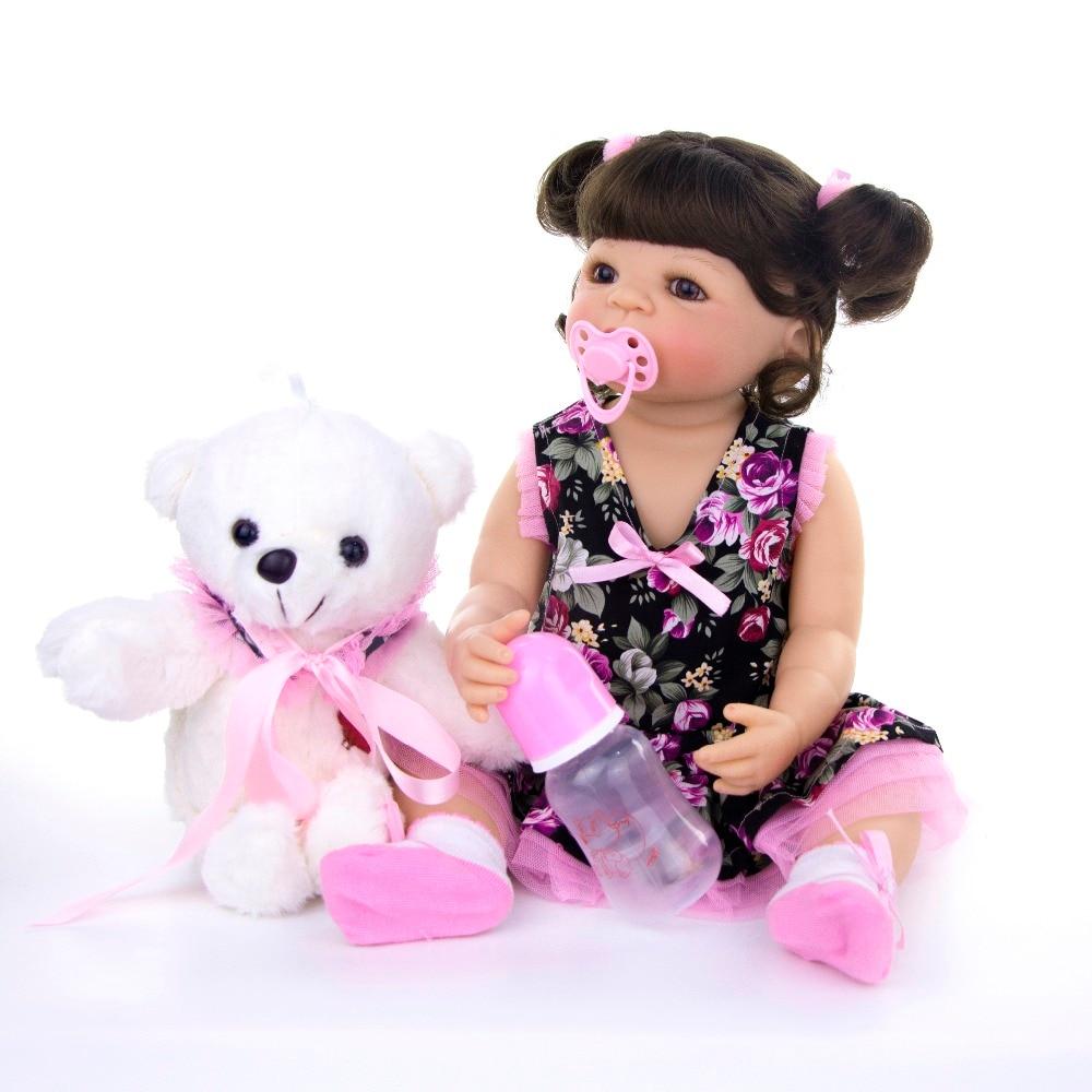 KEIUMI Exclusieve Baby Reborn Meisje Pop 22 inch Reborn baby 55 cm Full Siliconen Pop Met Bruine Krullen Kids Playmate speelgoed Gift-in Poppen van Speelgoed & Hobbies op  Groep 3