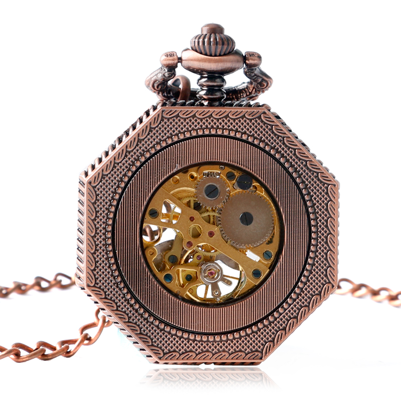 Mechanical Hand Winding Pocket Watch Octagon Shape Roman Number Skeleton Carving Pocket Watch Gift For Men Women