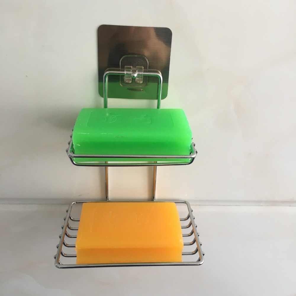 Metalen Keuken Badkamer Accessoires 1 st Spoelbak Plank Dubbele Zuignap Spons Afvoer Rack Multifunctionele Magazijnstellingen