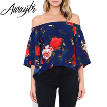 Awaytr Dark Blue Off Shoulder Tops Shirts For Women Flare Sleeve Chiffon Blouse Sexy Split Blouses Floral Print Summer Top White