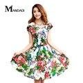 Envío libre 2017 del verano nuevos estilos mujeres de talla grande plisada con cuello en v maxi dress espectáculo cintura fina arena vestidos impresos