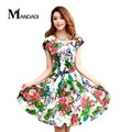 Free Shipping 2017 summer new  Styles plus size women pleated V-Neck dress waist show thin sand Maxi printed Dresses