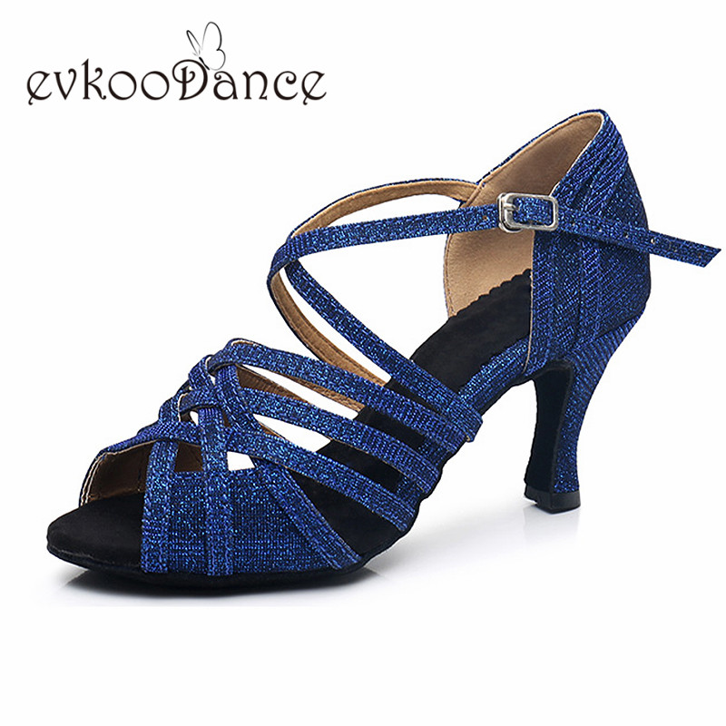 Heel Height 7 cm Comfortable Zapatos De Baile Blue Grey With Glitter Women  Latin Salsa Dance Shoes NL208-in Dance shoes from Sports   Entertainment on  ... 6119fb7082af