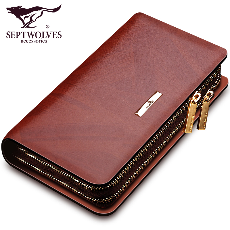 Septwolves famous brand men bag split leather large capacity business men clutch bags double zipper male hand Septwolves famous brand men bag split leather large capacity business men clutch bags double zipper male hand