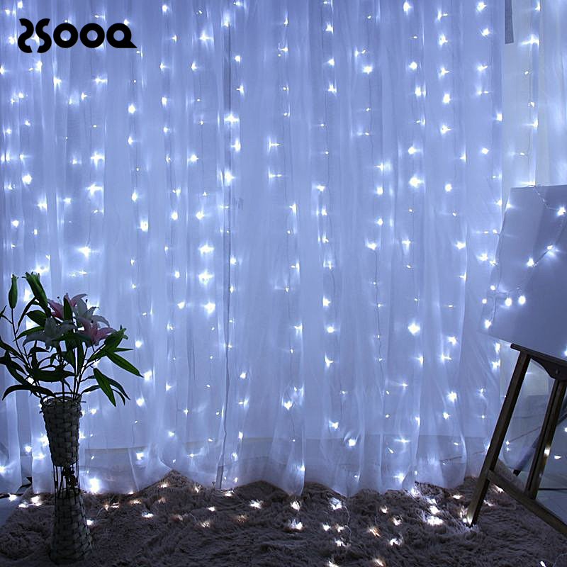 240/300Leds Curtain Icicle String Light Plug Powered  LED Tinsel Wedding Party Bedroom Fairy Decor Garland Light Chain LSL080