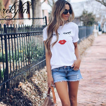 2019 eyelash red lips tshirts print letters female T-shirt plus size summer tee shirt femme harajuku shirt women tops XS-4XL(China)
