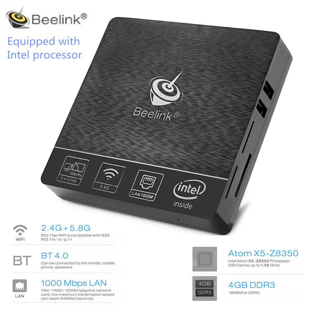Beelink BT3 Pro TV Box Mini PC Win10 Linux Ubuntu Intel Atom X5-Z8350  2 4/5 8GHz WiFi Bluetooth 4 0 4G 64G 1000Mbps LAN PK AP42